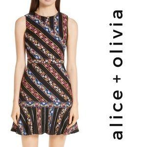 ALICE + OLIVIA Imani Embroidered Fit & Flare Dress